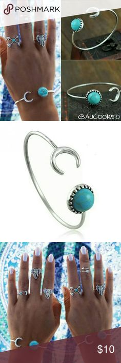 B1G1 FreeSilver Half Moon Turquoise Cuff Boho silver half moon bracelet and faux turquoise stone open cuff bracelet . Material: Alloy Color: Silver and Turquoise  V day Sale Buy 1 Get 1 Free              On all jewelry (Not eligible for bundle discount) Jewelry Bracelets
