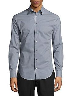 Giorgio Armani Gingham-Check Cotton Button-Down Shirt - Frost Blue - S