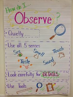 Science Observers Anchor Chart.  Great visual for your special education classroom.