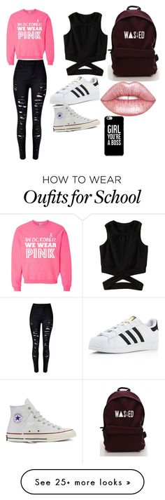 """""""school"""" by melaniv-eelaid on Polyvore featuring adidas, Converse and Lime Crime"""