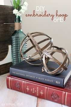 These DIY Embroidery Hoop Orbs make great baubles for your desk, tabletop, or shelves! Plus, they cost less than $10 to make.