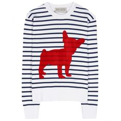 Être Cécile - Big Dog printed cotton sweater - être cécile is known and loved for its playful prints, and this sweater is no different. A charming dog design is printed in red on blue and white striped cotton, which boasts a cosy fleece lining - you won't want to take this one off! Style yours with blue jeans for an easy-going daytime look. seen @ www.mytheresa.com