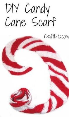 Crochet this fun candy cane scarf to wear during the Christmas and winter season! So pretty! #crochet #crochetscarf #candycanescarf #crochetpattern #crochetscarfpattern #winterfashion #christmasfashion #diy #diycandycanescarf #craftbits