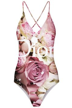 ROMWE | ROMWE Rose Print Crossed Self-tied Halter Swimsuit, The Latest Street Fashion