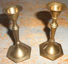 Vintage Candle Holders Brass Candlesticks Small by TheBackShak