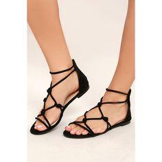 Rosabel Black Suede Gladiator Sandals ($22) ❤ liked on Polyvore featuring shoes, sandals, black, black high heel shoes, suede shoes, black sandals, high heel sandals and high heel shoes