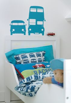 Watch out it Rush Hour time in the bedroom! Treat you kid with an organic… Boys Car Bedroom, Car Themed Bedrooms, Bedroom Themes, Boy Room, Bedroom Ideas, Cushions To Make, Little Boy Blue, Teen Bedding, Nursery Wall Decals