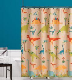Saturday Knight Dino Stomp Fabric Shower Curtain, Multicolor