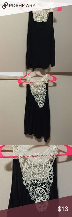 Black tank with cream crochet Gorgeous soft black tank with cream crochet. Brand new, never worn. Smoke free home. Tops Tank Tops
