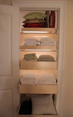 Installing drawers instead of shelves for linen closets.