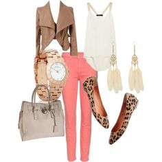 I'm in love with these coral skinnies! This outfit is so perfect for date night.