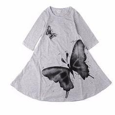 Delightful Watercolor Butterfly Cotton Dress