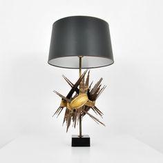 Silas Seandel;  Torch-Cut Brass Table Lamp, c1970.