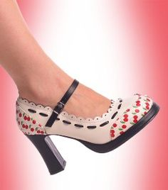 T.U.K. Shoes - Cherry Print Mary Jane Shoes with Scallop Trim by T.U.K. Shoes