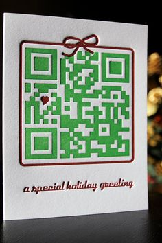 """What a great idea for a Christmas Card: """"This letterpressed QR code holiday card takes your recipient to a special YouTube video: """"A Yorkie Christmas Story"""": http://youtu.be/jFEbUbq9X8A . Check it out for yourself (or scan it on your smartphone). A helpful tip is to make sure you scan with your QR code reader a little further away than up close."""