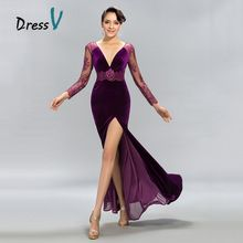 Manches longues Violet Robes De Soirée Backless 2016 Sexy Sheer V-cou Dentelle…