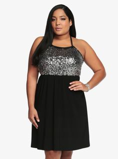b5cfd91714c Sequin Bodice Halter Dress From The Plus Size Fashion Community At  www.VintageAndCurvy.com