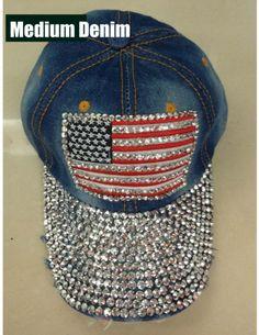 Fully adjustable Fully Studded brim American · Snap BacksColored DenimAmerican  FlagBaseball HatsSnapback HatsBlingCapDiamondShips 5717e570fd80
