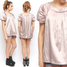 BCBG Architectural Pleated Oversized Dusty Pale Pink Silk Blouse | eBay