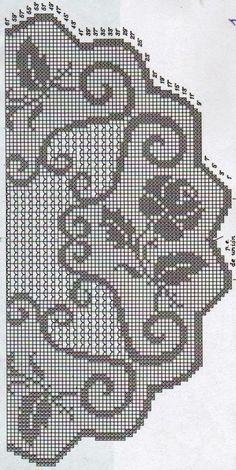 Four roses filet crochet on a tablecloth Crochet Puff Flower, Crochet Lace Edging, Crochet Flower Patterns, Thread Crochet, Crochet Designs, Crochet Doilies, Crochet Stitches, Crochet Flowers, Filet Crochet Charts