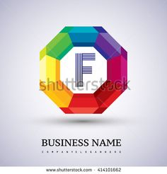 F Letter colorful logo in the hexagonal. Vector design template elements for your application or company logo identity. - stock vector