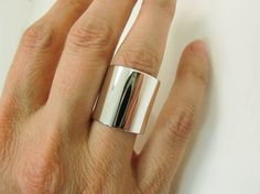 Sterling Silver Ring Extra Wide Silver Band Super by Lovethebugs