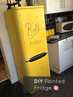 Ball Mason Jar Painted Refrigerator