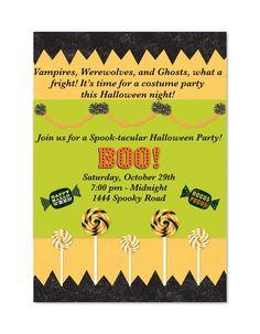 Halloween Customized Invitations by MyFashionLove on Etsy, $5.00