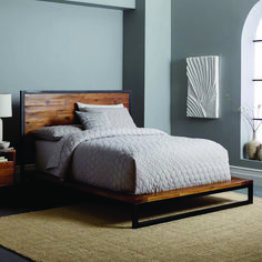 west elm's modern bedroom furniture features sleek styles & clean lines. Find an assortment of contemporary bedroom furniture including nightstands, drawers & headboards. Cama Industrial, Industrial Platform Beds, Industrial Bed Frame, Industrial Storage, West Elm Bedroom, West Elm Bedding, Bedding Sets, Industrial Bedroom Furniture, Home Furniture