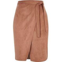 Реки острова коричневая замшевая юбка с запахом