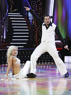 Kym Johnson & Joey Fatone dancing the Cha-cha.
