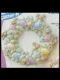 Ceramic Bisque Easter Egg Bunny Wreath, Gare 3729, U-Paint, Ready To Paint  #Gare
