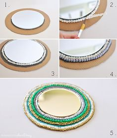 Learn how to create a stunning Round Beaded Wall Mirror using only a few simple … Learn how to create a stunning Round Beaded Mirror using just a few simple materials! Hang this colorful DIY Mirror on the wall to admire every day. Delineate Your Dwelling Round Wooden Mirror, Round Wall Mirror, Round Mirrors, Sunburst Mirror, Wall Mirrors, Ikea Mirror, Mirror Mirror, Beaded Mirror, Mirror Crafts