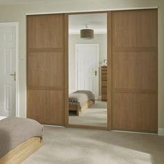 Shaker Panel Door Oak with Shaker Mirror Door Oak Sliding Wardrobe Doors Uk, Fitted Wardrobe Doors, Oak Wardrobe, Wardrobe Design Bedroom, Built In Wardrobe, Closet Bedroom, Sliding Doors, Mirrored Wardrobe, Fitted Wardrobes