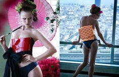 Geisha in flair Italy with Anne Vyalitsyna - - Fashion Editorial Olaf, Fashion Shoot, Editorial Fashion, High Fashion Models, Japan Fashion, Kimono Fashion, Hottest Models, Fashion Photography, Glamour