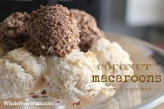 Aaaah — Macaroons. For some reason I have always had a thing for these little mounds of coconut. Since my son's diagnosis with a life-threatening allergy to egg, my heart always ached whenever I saw a macaroon recipe. Cause coconut macaroons are almost ALWAYS made with egg, and I couldn't share the deliciousness with him. I tried once or twice to make an egg-free version, but the resulting cookie fell apart much too easily. So when I saw a recipe for Egg-Free Coconut Macaroons just before…