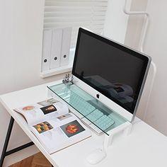 Amazon.com : i-Bridge Mini MC-500 Tempered Glass Laptop Monitor Stand White Slim Universal Monitor Laptop Multimedia Stand with Desk Organizer : Office Products