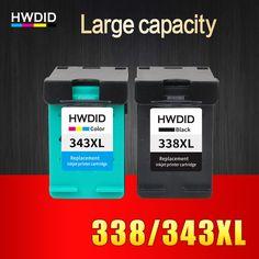 2 Pack Voor HP 338 343 inktcartridge Voor HP Deskjet 6540 5740 5745 6520 6540 460c 6620 6840 PSC 1500 1510 1600 1610 printers