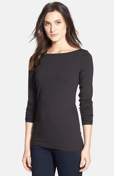 Free shipping and returns on Eileen Fisher Bateau Neck Long Jersey Top (Regular & Petite) at Nordstrom.com. A collarbone-skimming neckline and long, slim silhouette lend simple elegance to a staple top in soft and silky jersey.