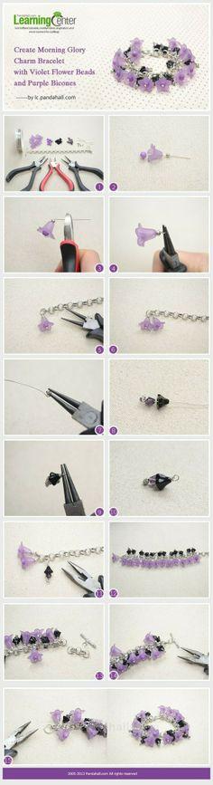 Jewelry DIY Tutorial: violet morning glory flower beads bracelet making