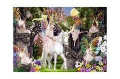 Puzzle Bluebird - Fairy Queen With Unicorn, piese Fairy Queen, Blue Bird, Puzzle, Cabinet, Painting, Art, Jelly Cupboard, Art Background, Puzzles