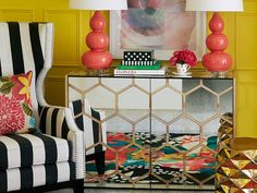 Anticipate those sunny days ahead with a hit of yellow at home - paint, decor, interior design, makeover, renovation, bright colours Pink Yellow, Coral, Palm Beach Regency, Ceramic Garden Stools, Gourd Lamp, Floral Cushions, Entry Hallway, Anchors, House Painting
