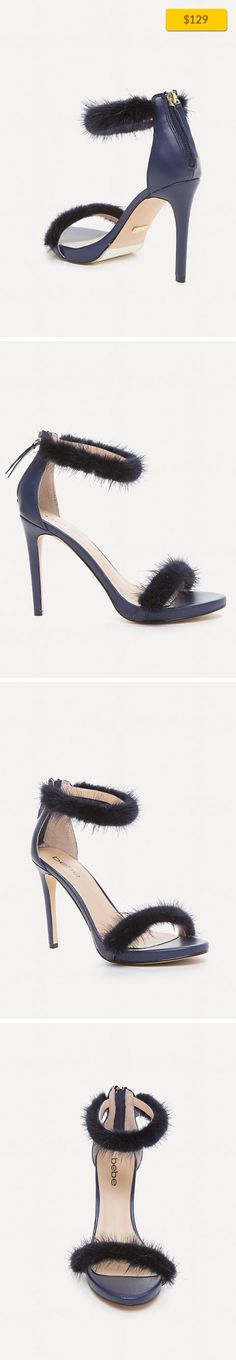"""Paaris Faux Fur Sandals SHOES, SANDALS NAVY   Boudoir-vibe sandals in a posh leather accented by playful faux fur straps. Stiletto heels. Back zip closure. Leather upper, synthetic outsole Imported Heel height: 4"""" (10.25 cm)"""