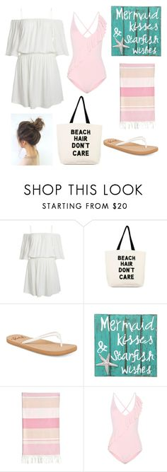 """Mermaid Kisses and Starfish Wishes"" by annelieseoh ❤ liked on Polyvore featuring Soma, Roxy, NOVICA, Linum Home Textiles and Marysia Swim"