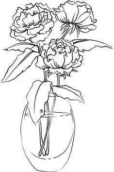 Vase And Flower Template Rose 001 - Printable Coloring Pages Fleurs Van Gogh, Flower Template, Coloring Book Pages, Coloring Sheets, Digi Stamps, Copics, Printable Coloring, Flower Art, Cactus Flower