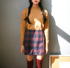 Kfashion Blog - Korean Fashion - Seasonal fashion, aesthetic fashion, plaid skirt, knit sweater, autumn fashion, spring fashion