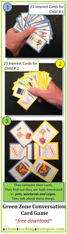 "This simple cut-out download creates a card activity that is fun and extremely useful to help children with autism find ""common ground"" in conversation. Tags: child autism, social skills, conversation, free download."