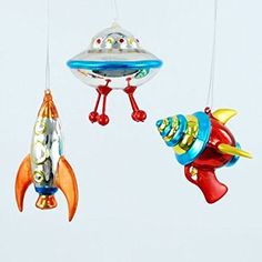Christmas Vintage Style Outer Space Mini Glass Ornaments, Set of 3, Ray Gun, Flying Saucer
