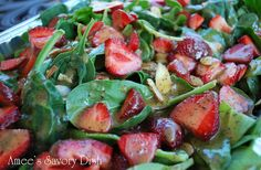 Strawberry Spinach Salad with Agave Poppyseed Dressing - repinned by www.CavemenTimes.com