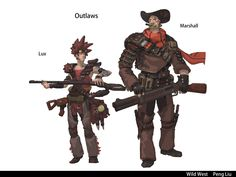 Challenge submission by yinyue liu Character Art, Character Design, Character Ideas, Westerns, Western Theme, Old West, Fantasy Creatures, Cyberpunk, Futuristic